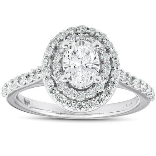 1 3/4Ct Oval Diamond Double Halo Engagement Ring 14k White Gold (G/H, SI1-SI2)