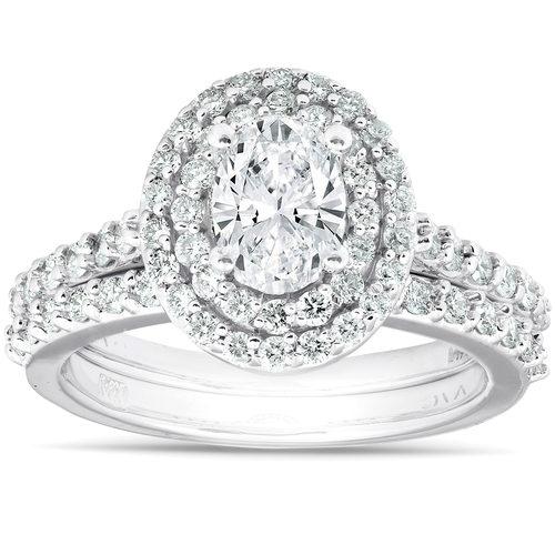 2Ct Oval Diamond Double Halo Engagement Wedding Ring Set 14k White Gold (G/H, SI1-SI2)