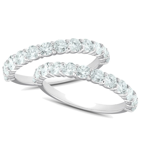1 3/4Ct Diamond Weedding Ring Set 14k White Gold Stackable Engagement Bands (H/I, I1-I2)