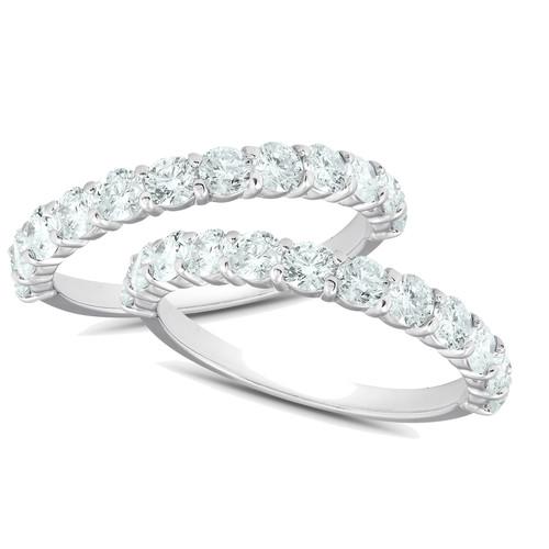1Ct Diamond Weedding Ring Set 14k White Gold Stackable Engagement Bands (H/I, I1-I2)