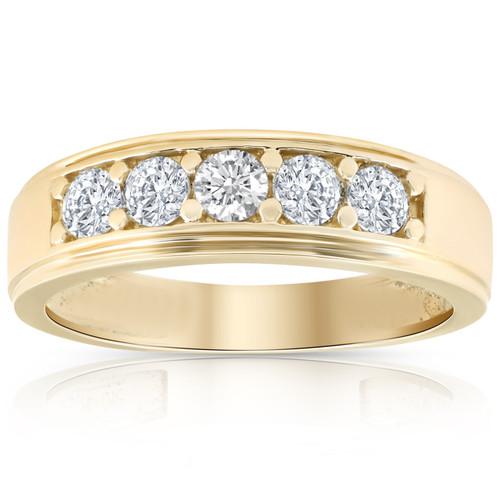 1 Ct Diamond Ring Mens High Polished 14k Yellow Gold Wedding Anniversary Band (H/I, I1-I2)