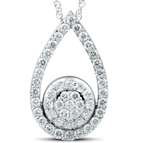 "1 1/10Ct Lab Created Diamond Circle Pear Shape Pendant 14k White Gold 1"" Tall (G/H, VS)"