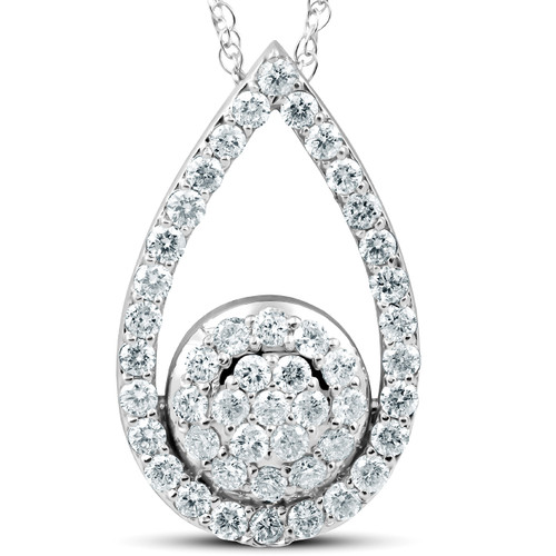 "1 1/10Ct Diamond Circle Pear Shape Pendant White Gold 1"" Tall (G/H, I1)"