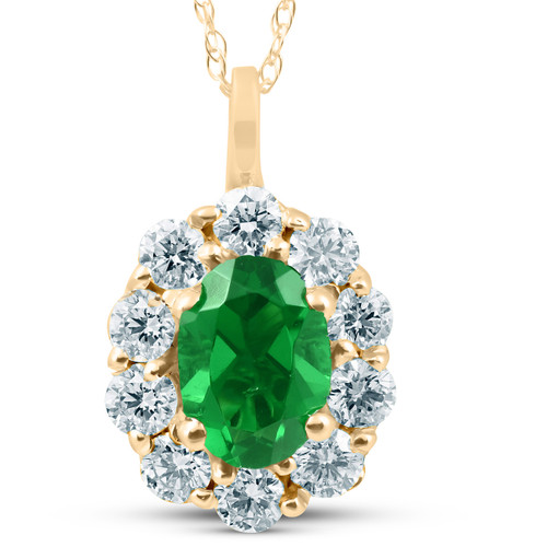 1 3/4ct Emerald & Genuine Diamond Halo Pendant 14K Yellow Gold (G/H, I1)
