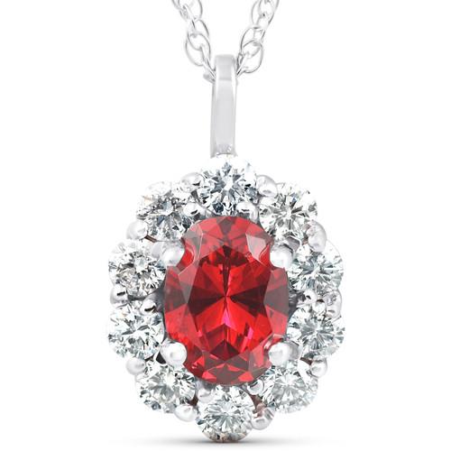 1 3/4ct Ruby & Genuine Diamond Halo Pendant 14K White Gold (G/H, I1)