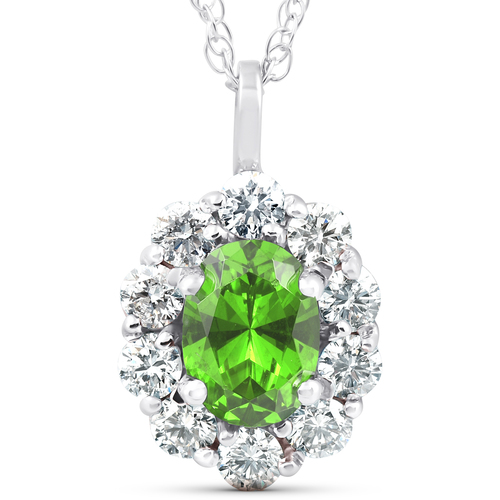 1 3/4ct Oval Peridot & Genuine Diamond Halo Pendant 14K White Gold (G/H, I1)
