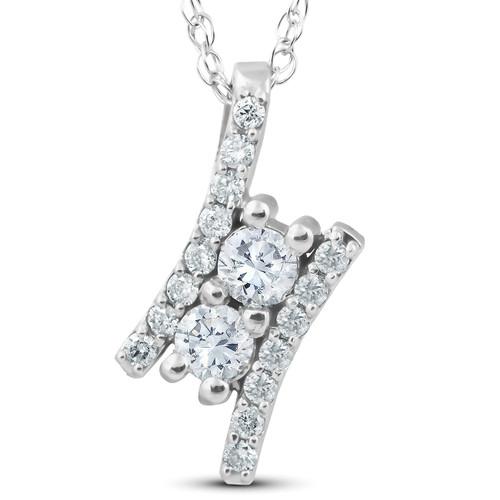"1/2Ct Forever Us Two Stone Diamond Pendant 14K White Gold 3/4"" Tall (I-J, I1-I2)"