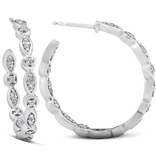 """1/2 Ct Genuine Diamond Inside Outside 1"""" Hoops White Gold (G-H, I1)"""