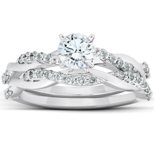 3/4Ct Diamond Infinity Engagement Ring Set 14k White Gold Maching Woven Band (H/I, I1-I2)