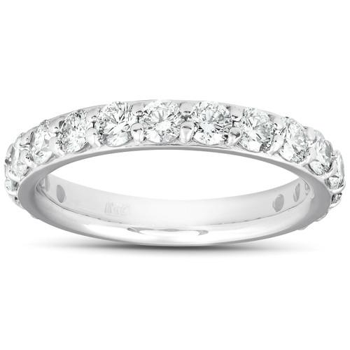 1 1/2 Ct Diamond Wedding Ring 14k White Gold Stackable Anniverary Band (H/I, I1-I2)