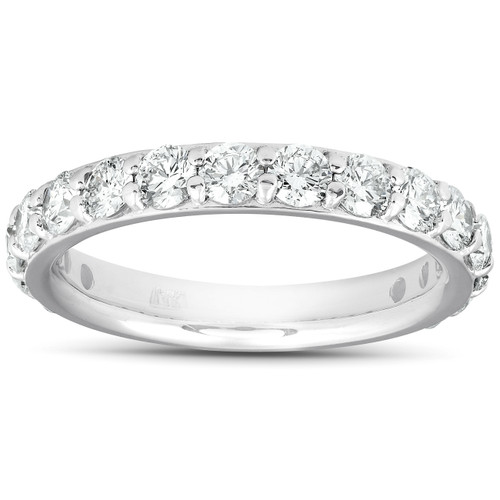 1 1/2 Ct Diamond Wedding Ring 14k White Gold Stackable Anniverary Band (H/I, I1-I2)