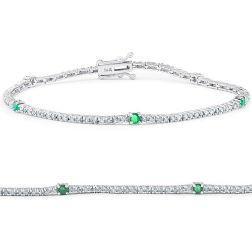 "1 1/10 Ct Diamond & Genuine Green Emerald Tennis Bracelet 14k White Gold 7"" (G/H, I1)"