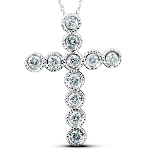 "3/4 Ct Diamond Cross Pendant 14k White Gold & 18"" Chain 1"" Tall (G/H, I1)"