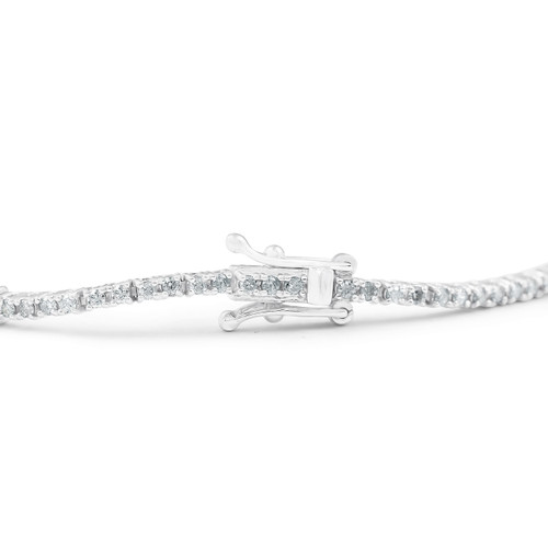 1/10 Ct Diamond & Genuine Blue Sapphire Tennis Bracelet