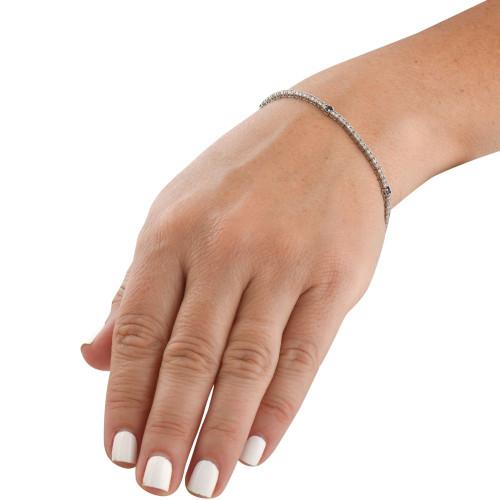"1 1/10 Ct Diamond & Genuine Blue Sapphire Tennis Bracelet 14k White Gold 7"" (G/H, I1)"