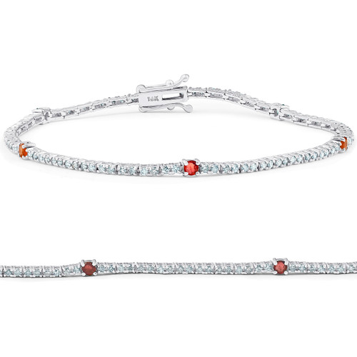 "1 1/10 Ct Diamond & Genuine Ruby Tennis Bracelet 14k White Gold 7"" (G/H, I1)"