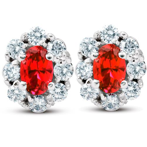 3 Ct Ruby & Diamond Halo Studs 14k White Gold (H/I, I1)