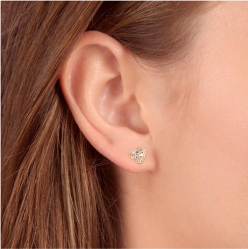 14K Yellow Gold Diamond Pave Petite Heart Studs Dainty High Polished 5.7MM (I-J, I2/I3)