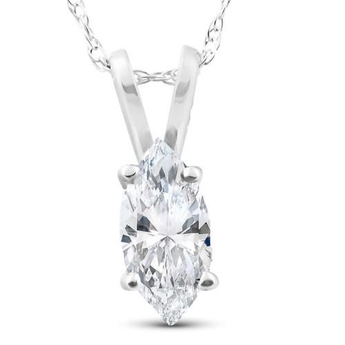 1/2ct Fancy Marquise Diamond Solitaire Pendant 14K White Gold (I/J, I1)
