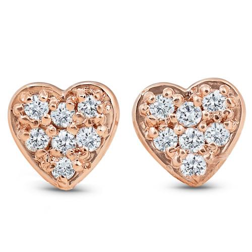 14K Rose Gold Diamond Pave Petite Heart Studs Dainty High Polished 5.7MM (I-J, I2/I3)