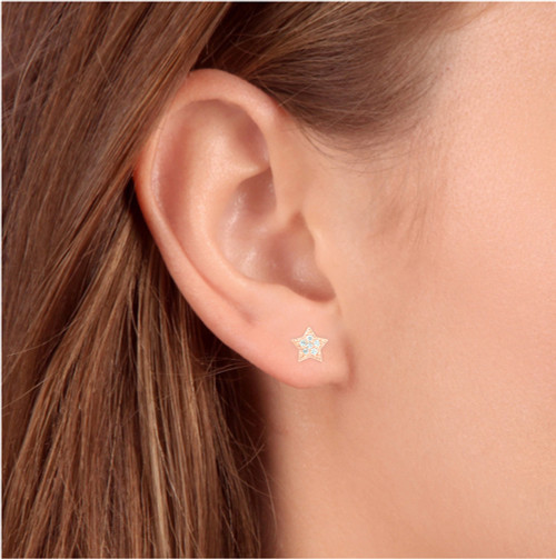 14K Rose Gold Diamond Pave Petite Star Studs Dainty High Polished 6.5MM (I-J, I2/I3)