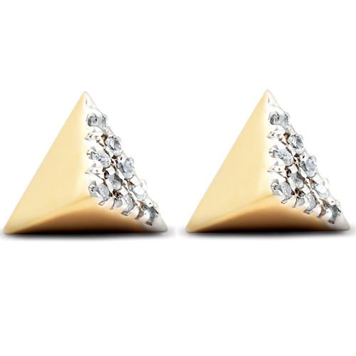 14k Yellow Gold Diamond Cube Studs Pave Spike Triangle Womens Earrings 7MM (I-J, I2/I3)
