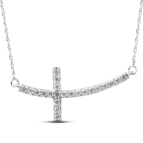 "1/3 Ct Diamond Sideways Cross Pendant 14k White Gold & 18"" Chain 1 1/4"" Wide (G/H, I1)"