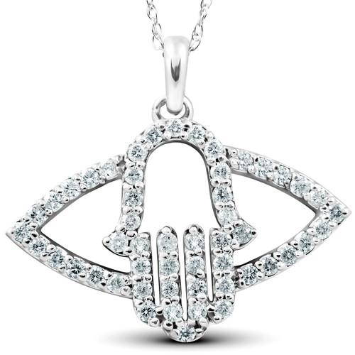 1/2 Ct Diamond Hamsa Evil Eye Hand Pendant 14k White Gold (G/H, I2)