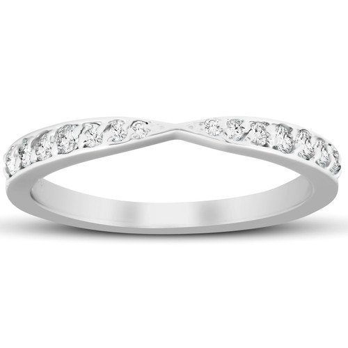 .25 Ct Diamond Wedding Ring Stackable V Shape Tapered Band 14k White Gold (G/H, SI)