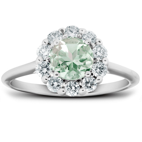 1/2 Ct TDW Halo Diamond Genuine Green Amethyst Ring 14k White Gold (H/I, SI1-SI2)