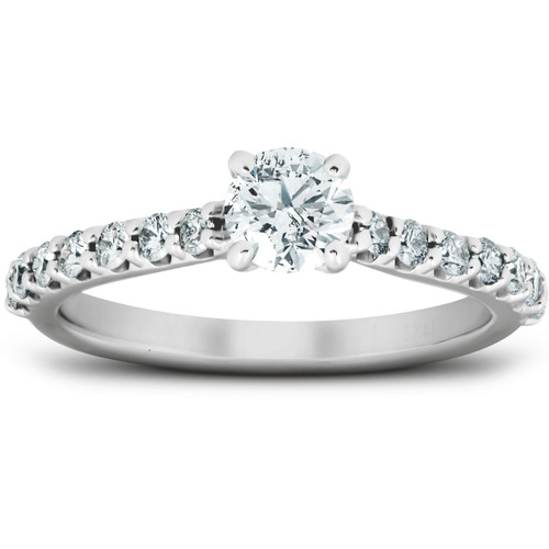 1 Ct TDW Round Lab Created Diamond Classic Engagement Ring 14k White Gold (((G-H)), I(1))