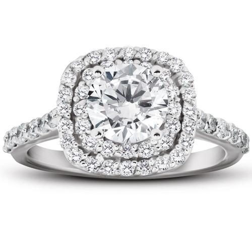 2 1/4 Ct Diamond Cushion Halo Engagement Ring 14k White Gold (H/I, SI2)