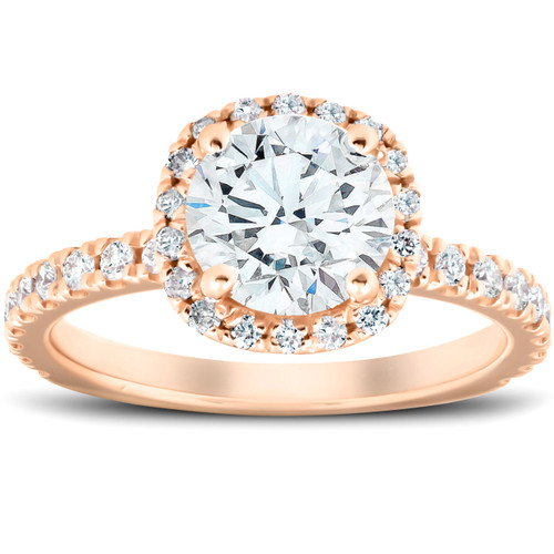 1 3/4 Ct Diamond Cushion Halo Engagement Ring 14k Rose Gold (G/H, SI1-SI2)