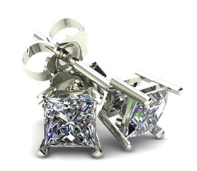 Four Prong Princess Cut White Diamond