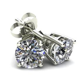Shop Round White Diamond Studs