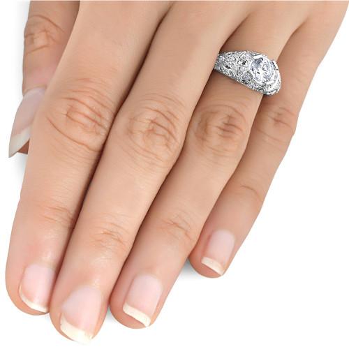 Vintage Enhanced Diamond Engagement Ring 1 1 5ct 14K White Gold (H I 4bd2aca9af