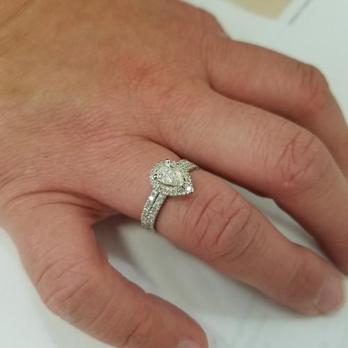 1 1 10ct Pear Shape Halo Diamond Engagement Wedding Ring Set 14k