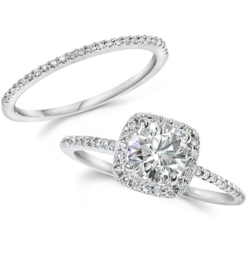 Diamond Wedding Rings.1ct Diamond Engagement Ring Cushion Halo Wedding Ring Set 14k White Gold H I I1