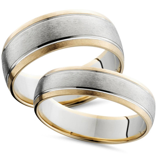 Cheap Wedding Rings Sets For Him And Her.Two Tone 14k White Yellow Gold Matching Wedding Ring Set His Hers Brushed Band