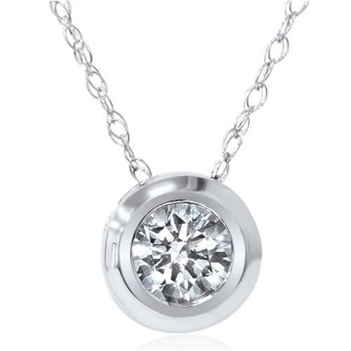 4b3ce5464cf1b6 1/6ct Solitaire Real Bezel 14K Diamond Pendant Necklace (G, SI)