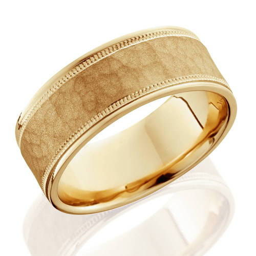 8mm Hammered Mens Wedding Band 14k Yellow Gold