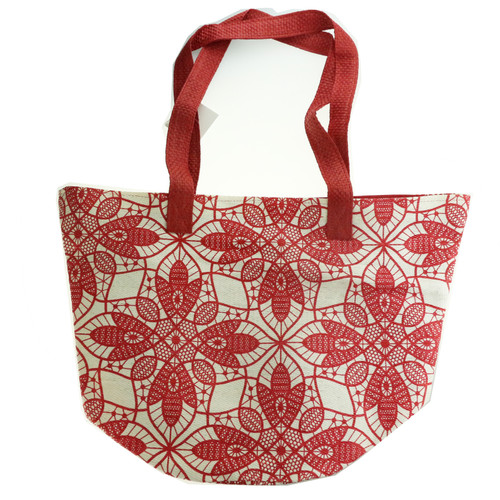 Women's Large White And Red Tote Bag New Tote Bag