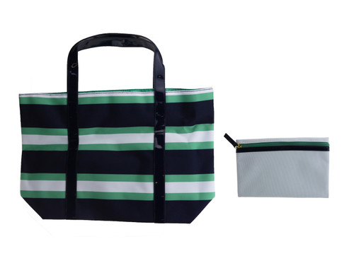Estee Lauder Navy Blue/Green And White Stripe Large Tote Bag New Tote Bag