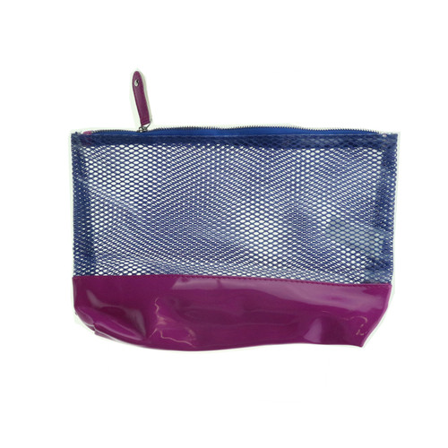 Saks Fifth Avenue 'Mesh Texture Blue And Pink' Cosmetic Bag New Cosmetic Bag