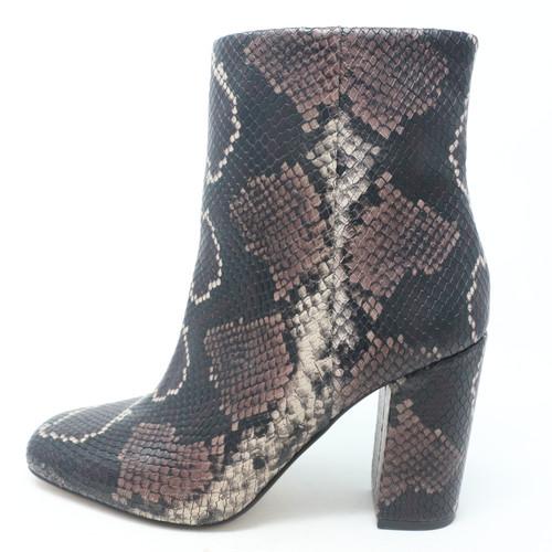 Dannia Dark Brown Snake Print Leather Boots