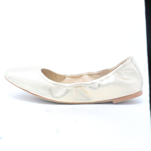 Brindin Leather Flat Egyption Gold Shoes