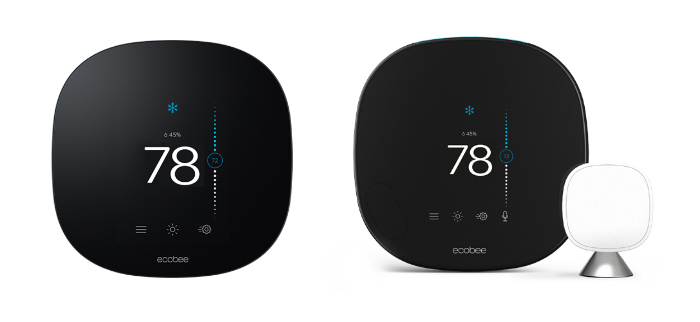 ecobee lite and ecobee smart thermostat with sensor on white background