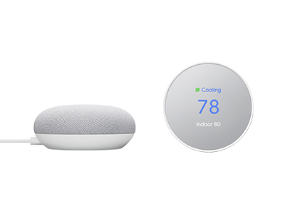google mini and nest thermostat set to 78 degrees