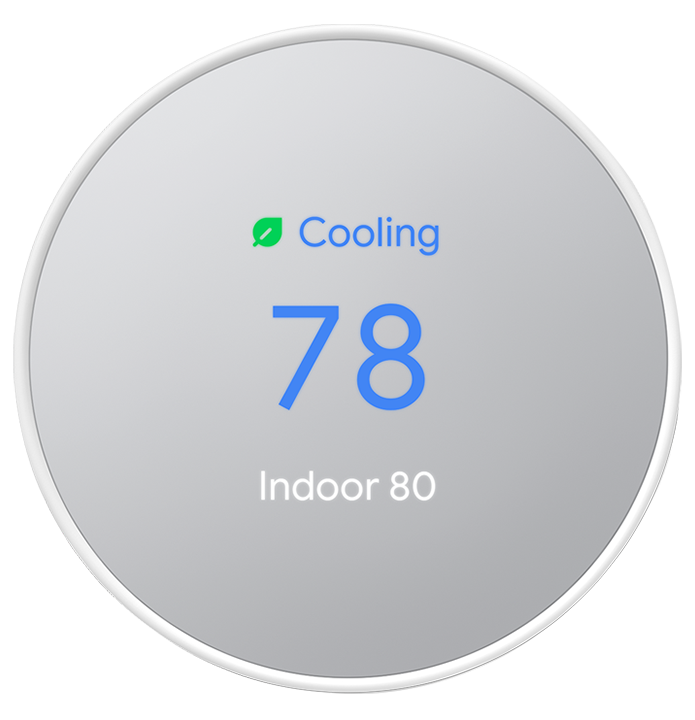 nest thermostat set on 78 degree cooling