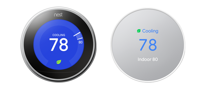 Nest Learning Thermostat and Nest Thermostat on white background